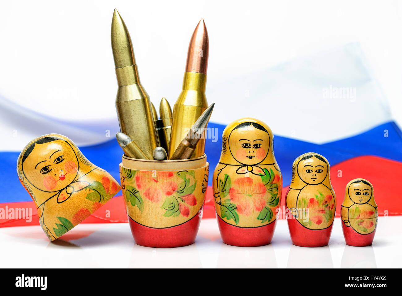 Russian Matroschka with cartridges, the Russian military, Russische Matroschka mit Patronen, russisches Militaer Stock Photo