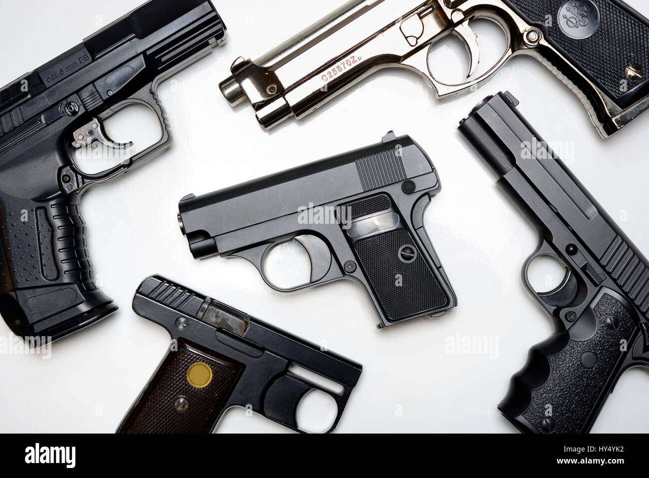 Appearance weapons, fright shot weapons and gas weapons, private armament in Germany, Anschein-, Schreckschuss- - Stock Image