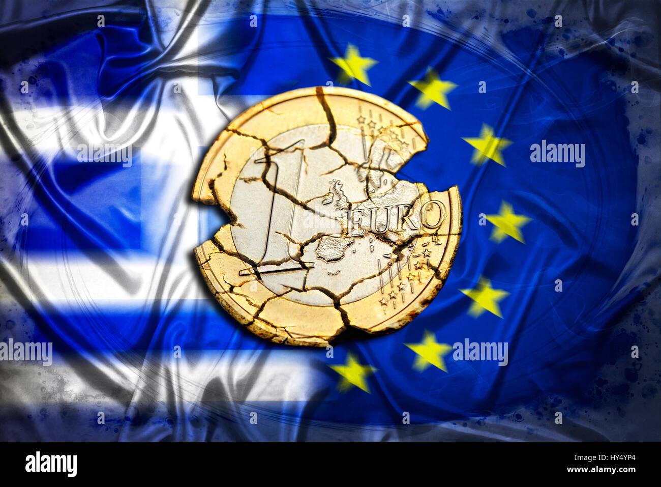Ruined eurocoin before Greece and EU flag, symbolic photo Grexit, Zerfallene Euromuenze vor Griechenland- und EU-Fahne, Symbolfoto Grexit Stock Photo