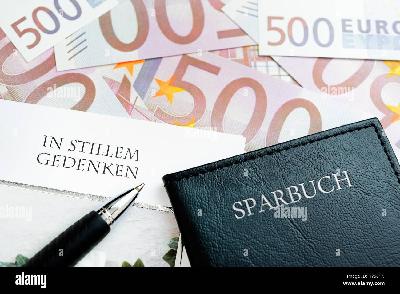 Bank notes, condolence card and savings book, symbolic photo negative interest, Geldscheine, Beileidskarte und Sparbuch, Stock Photo