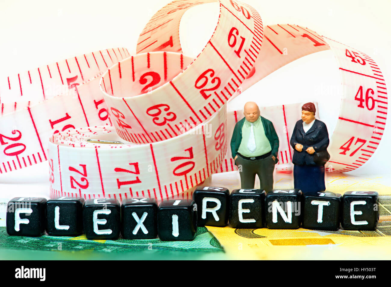 Senior citizen's pair and stroke Flexi pension, Seniorenpaar und Schriftzug Flexi-Rente Stock Photo