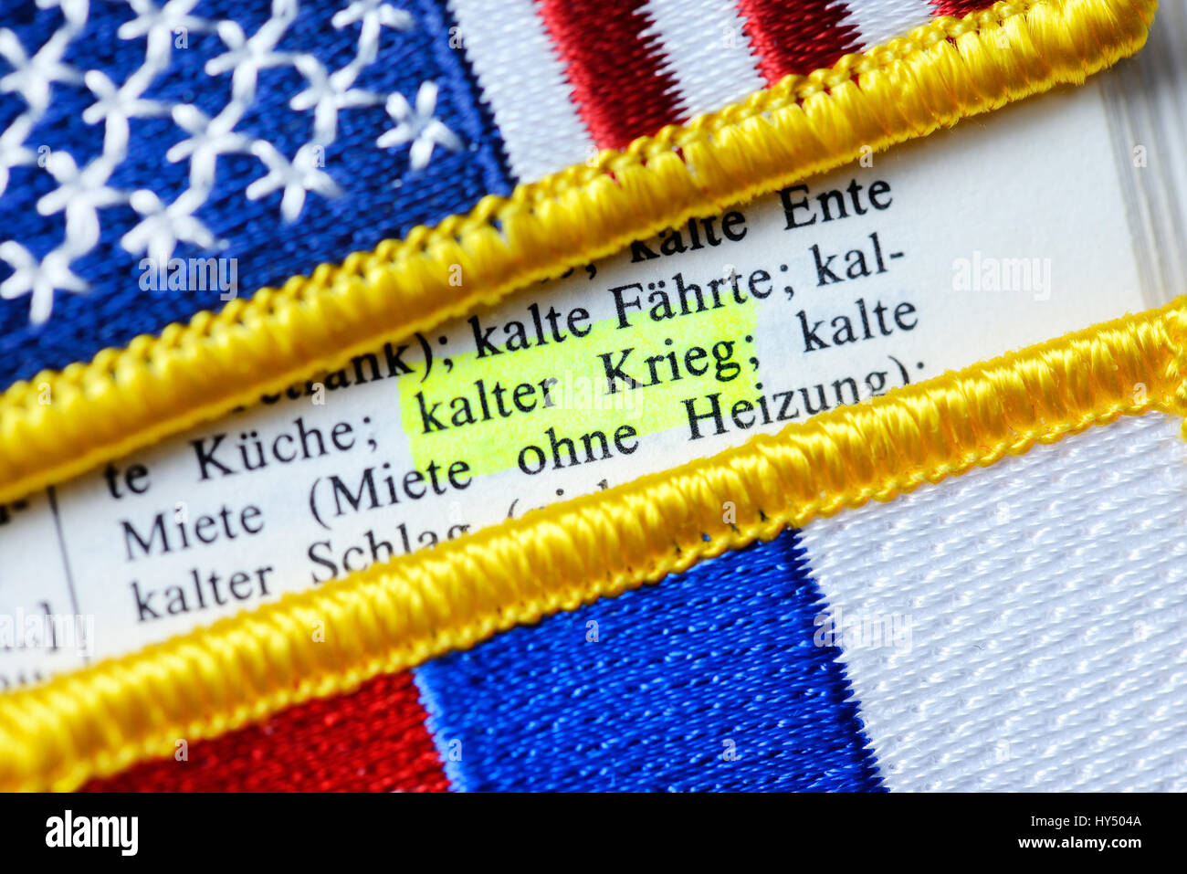 Flags of the USA and Russia and dictionary, cold war, Fahnen von USA und Russland und Woerterbuch, Kalter Krieg - Stock Image