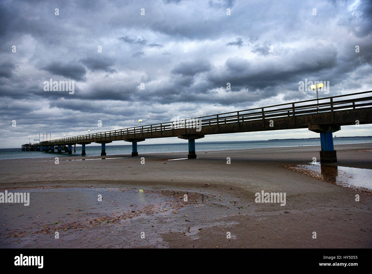 Hurricane low-pressure area Christian on the Baltic Sea in Scharbeutz, Schleswig - Holstein, Germany, Europe, Orkantief Stock Photo