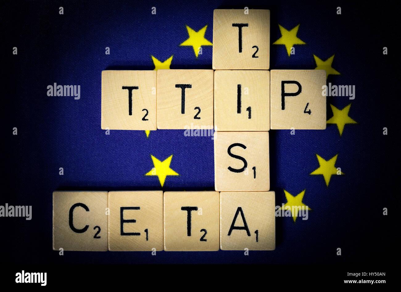 Letters form the names of the free trade agreements TTIP, TISA and CETA, Buchstaben formen die Namen der Freihandelsabkommen Stock Photo