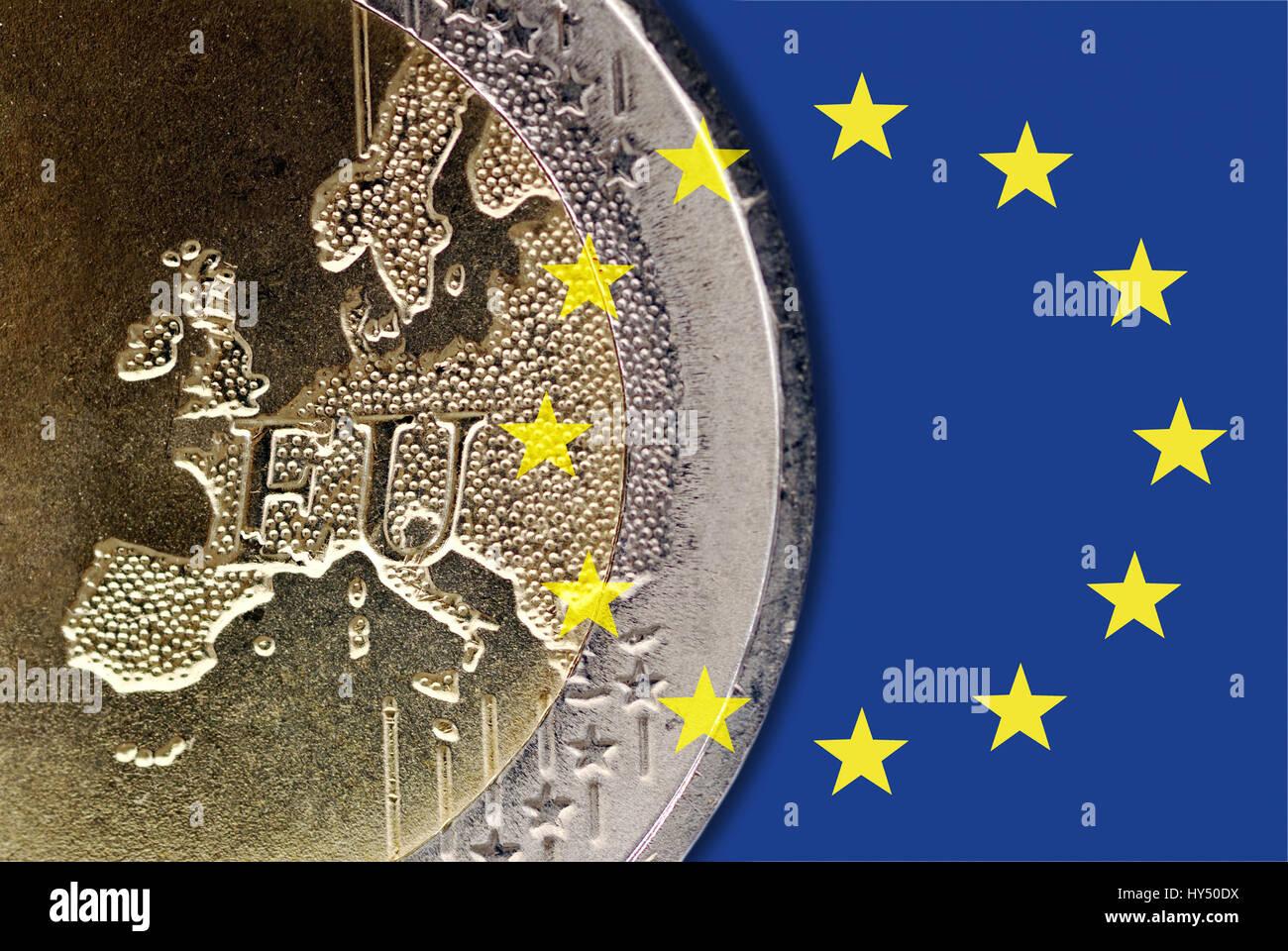 EU flag and euro-coin, European monetary fund, EU-Fahne und Euro-Muenze, europaeischer Waehrungsfonds - Stock Image