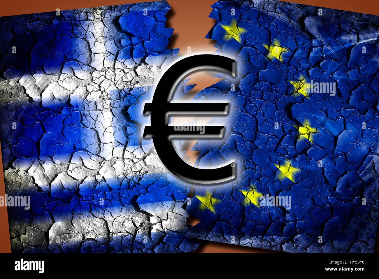 Greece and EU flag with tears and eurosigns, symbolic photo Grexit, Griechenland- und EU-Fahne mit Rissen und Eurozeichen, Stock Photo