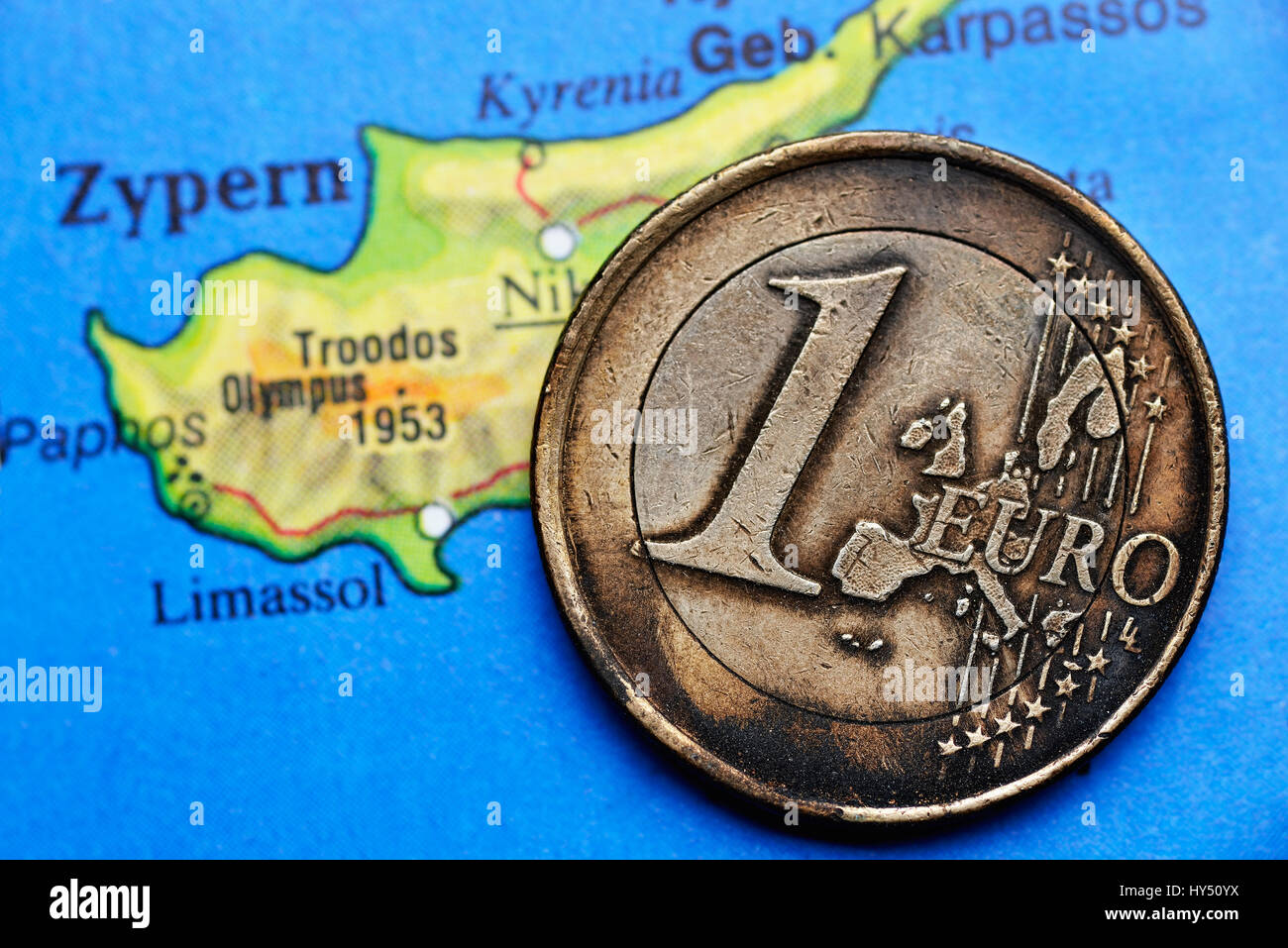 Burnt Euro Coin One On Cyprus Map Eurocrisis Angebrannte Stock