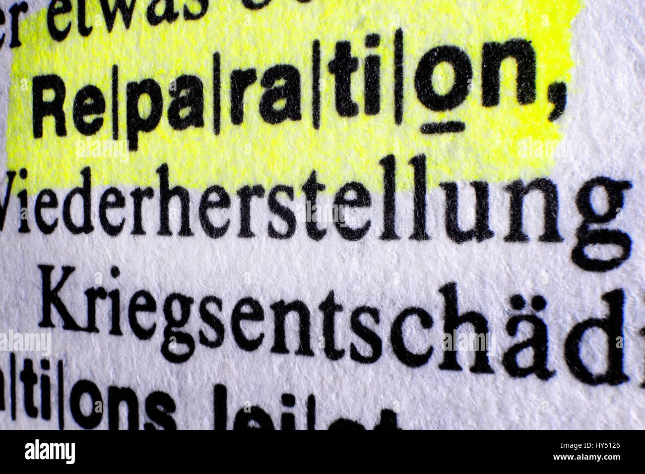 The word Reparation in a dictionary, Greek Reparationsforderungen, Das Wort Reparation in einem Woerterbuch, griechische Stock Photo