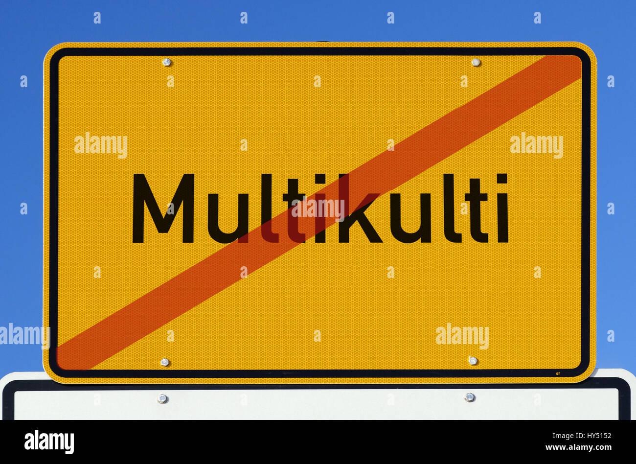 Local sign with crossed out stroke multiculturalism, Ortsschild mit durchgestrichenem Schriftzug Multikulti - Stock Image