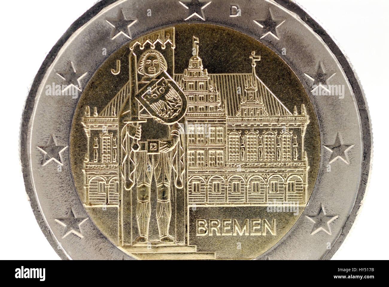 City of Bremen at the back of an euro-coin two, Stadt Bremen auf der Rueckseite einer Zwei-Euro-Muenze - Stock Image