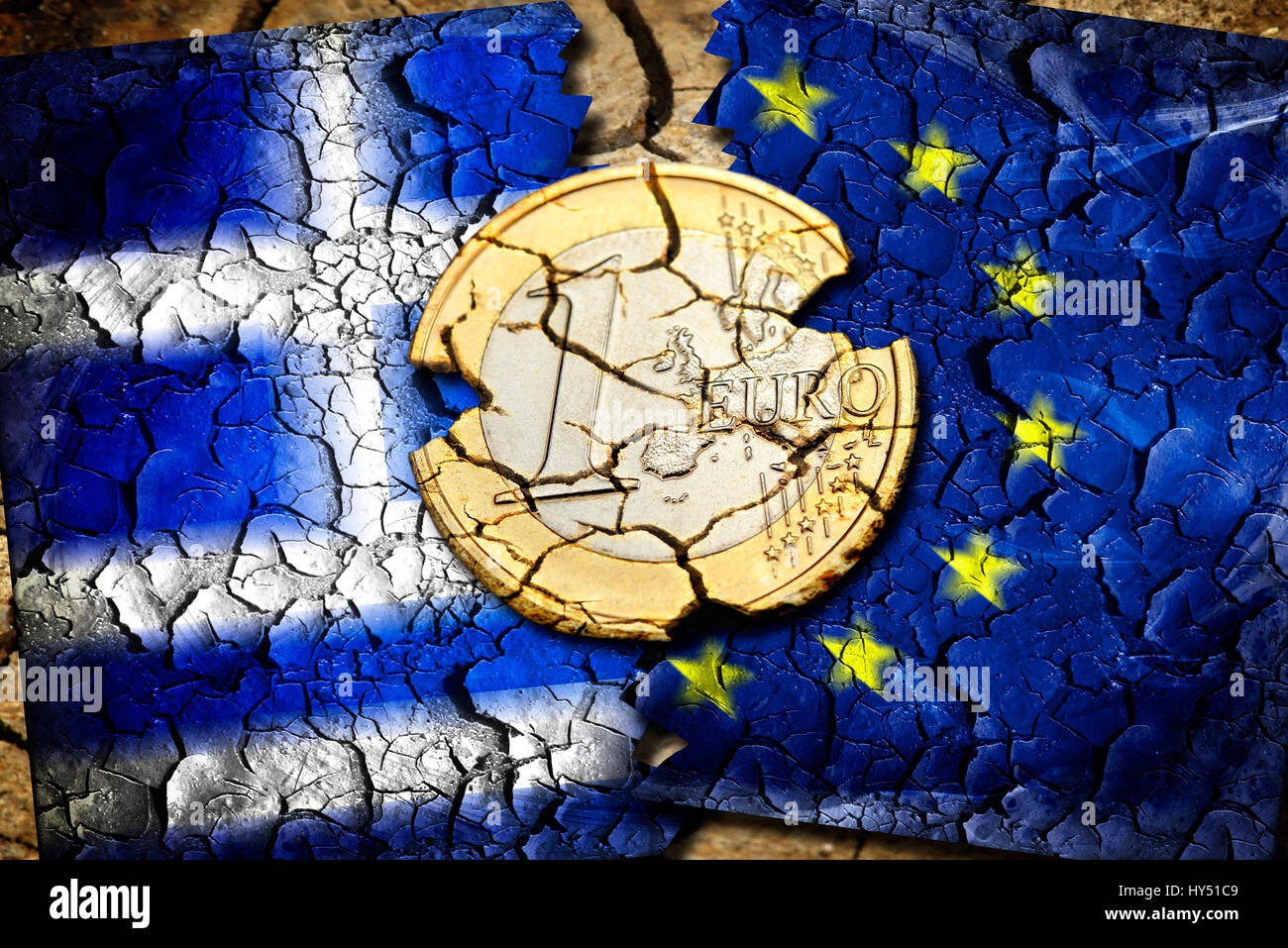 Euro-coin one with tears before Greece and EU flag, symbolic photo Grexit, Ein-Euro-Muenze mit Rissen vor Griechenland Stock Photo