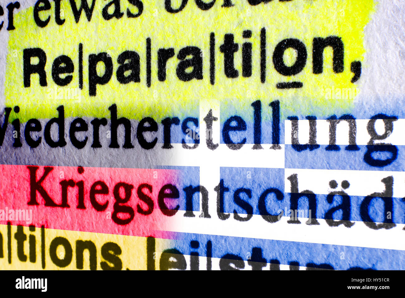 The word Reparation in a dictionary and flags of Germany and Greece, Greek Reparationsforderungen, Das Wort Reparation Stock Photo
