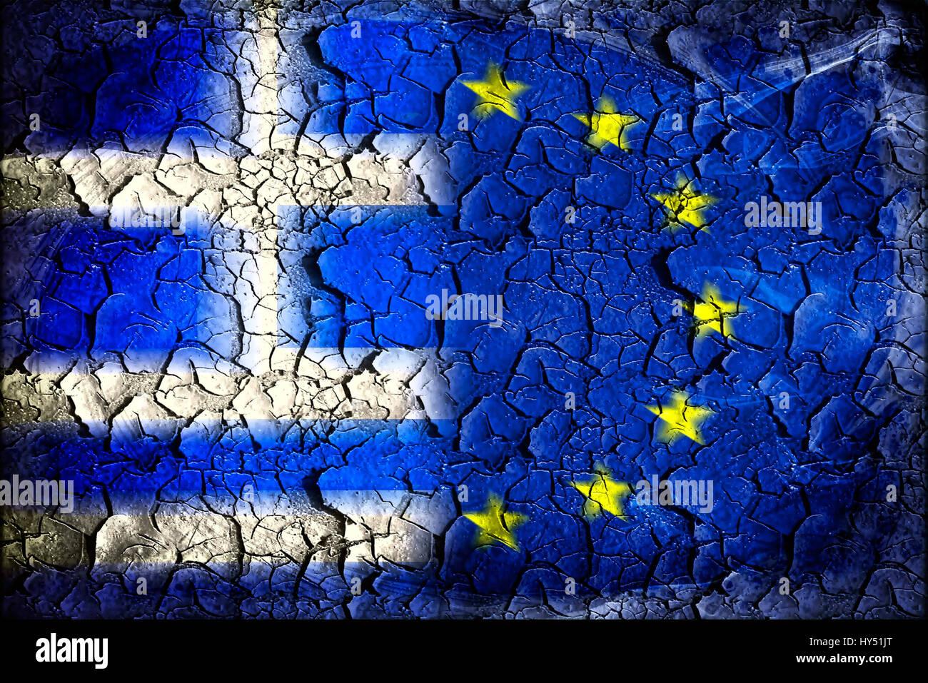 Greece and EU flag with tears, symbolic photo Grexit, Griechenland- und EU-Fahne mit Rissen, Symbolfoto Grexit Stock Photo