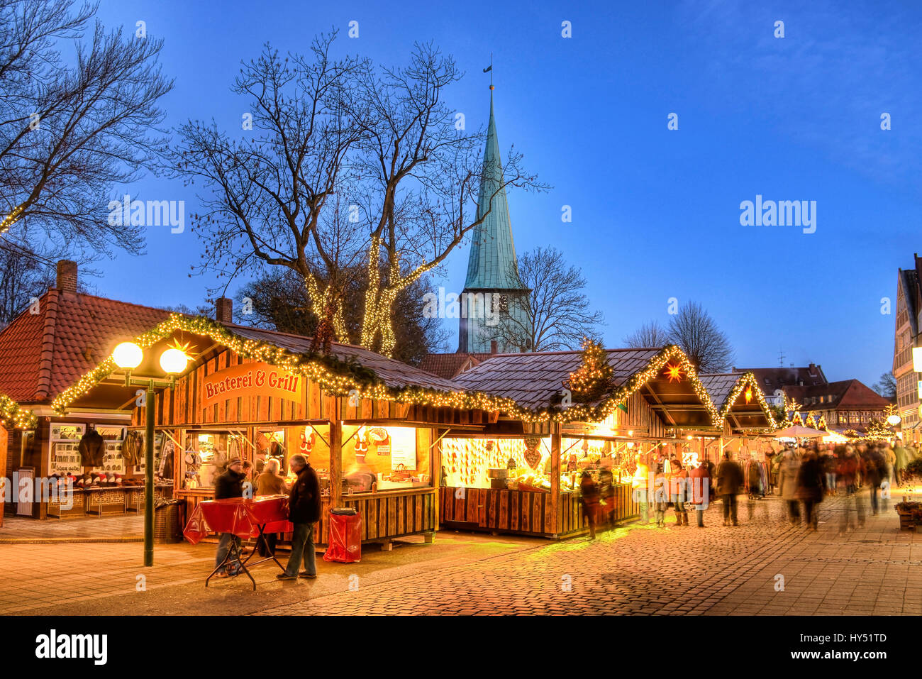 Christmas fair in old Holstenstrasse in mountain village, Hamburg, Germany, Europe, Weihnachtsmarkt in der Alten - Stock Image