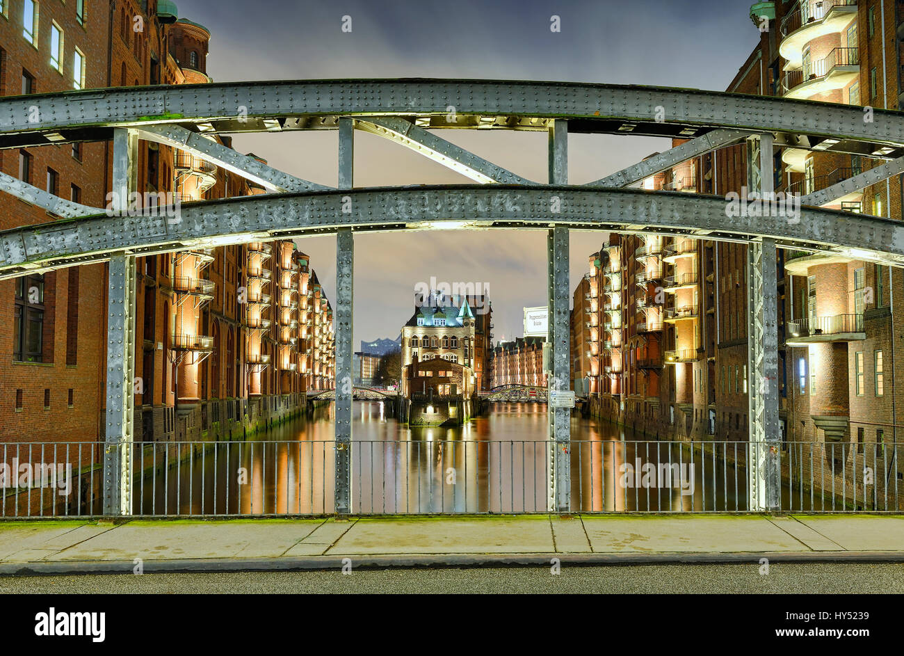 Water small castles between the canals in the memory town of Hamburg, Germany, Europe, Wasserschloesschen zwischen den Fleeten in der Speicherstadt vo Stock Photo