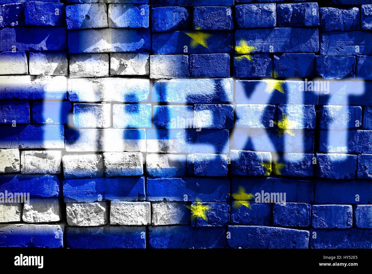 Greece and EU flag on ailing stone wall with stroke Grexit, Griechenland- und EU-Fahne auf maroder Steinmauer mit Stock Photo