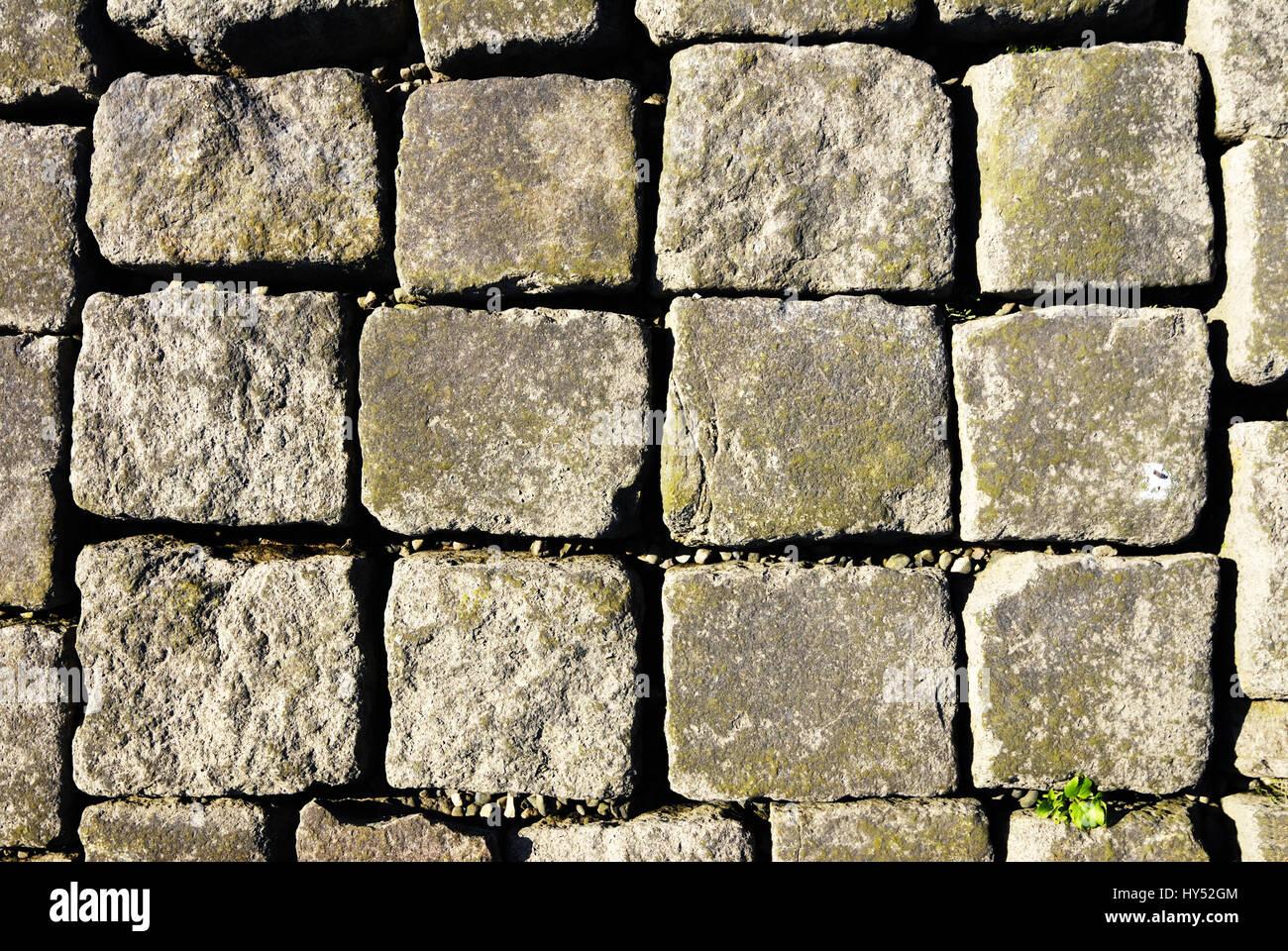 Stones on a stack in the Elbufer in the 4 and march landing, Hamburg, Germany, Steine auf einem Stack am Elbufer Stock Photo