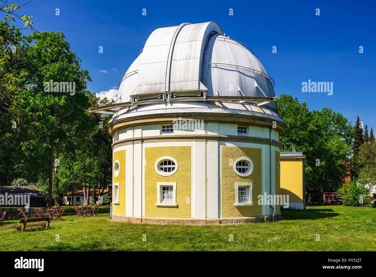 Observatory of Hamburg, building of the 1-m-reflecting telescope in mountain village, Hamburg, Germany, Europe, Stock Photo