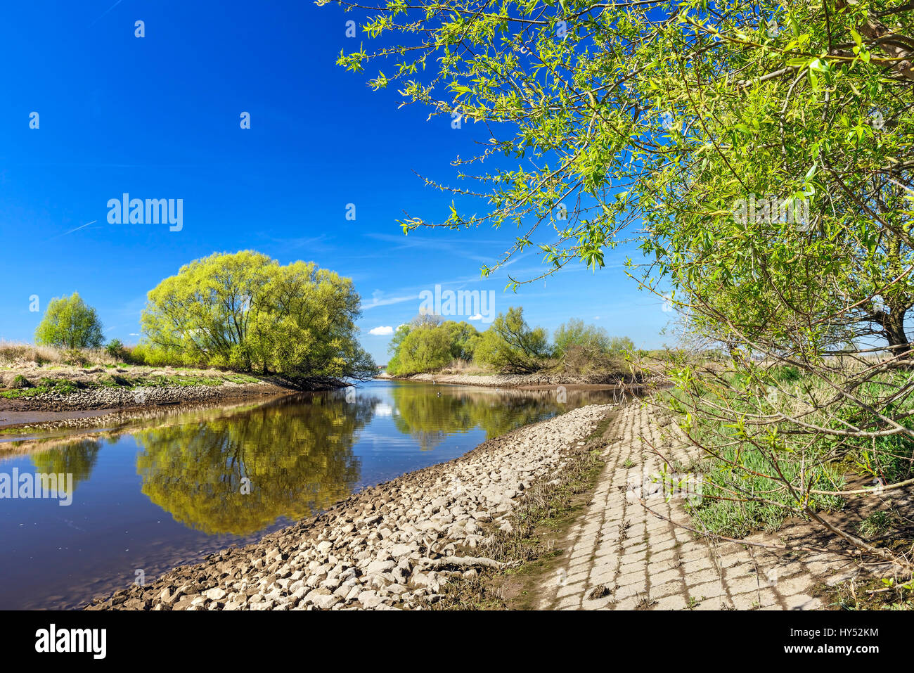 The Elbe and nature reserve Zollenspieker in the 4 and march landing, Hamburg, Germany, Europe, Elbe und Naturschutzgebiet Stock Photo