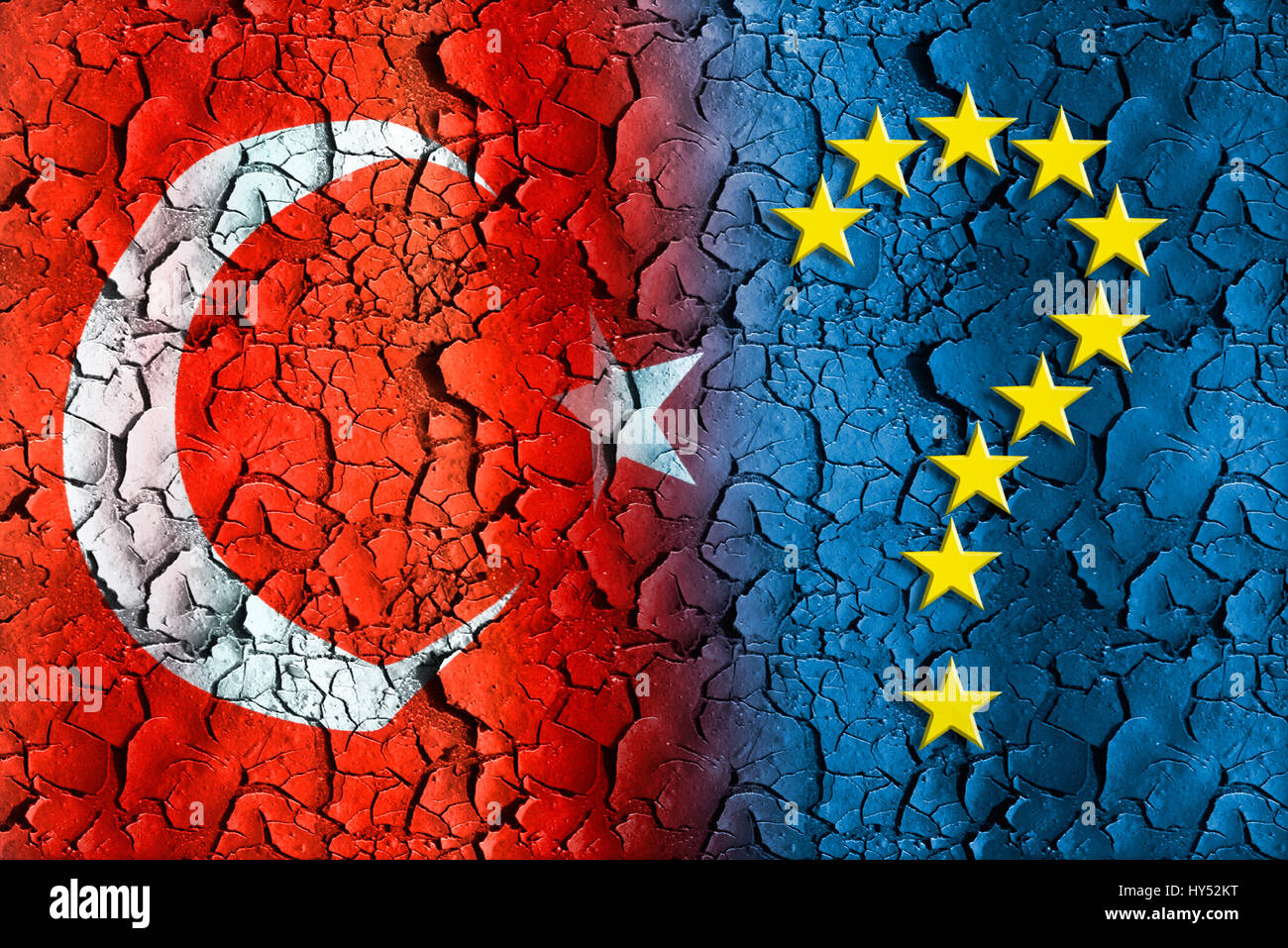 Flag of Turkey on flaking off reason with EU stars in the form of a question mark, Fahne der Tuerkei auf abblaetterndem Stock Photo