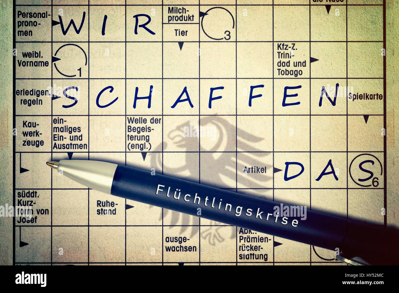 Crossword puzzles with the concepts we, create, the shade of the German federal eagle, Kreuzwortraetsel mit den Stock Photo