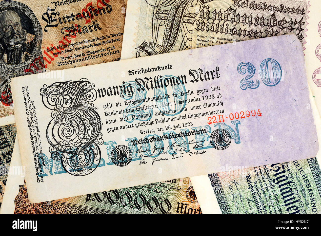 Old German inflation bank notes, Alte deutsche Inflations-Geldscheine Stock Photo
