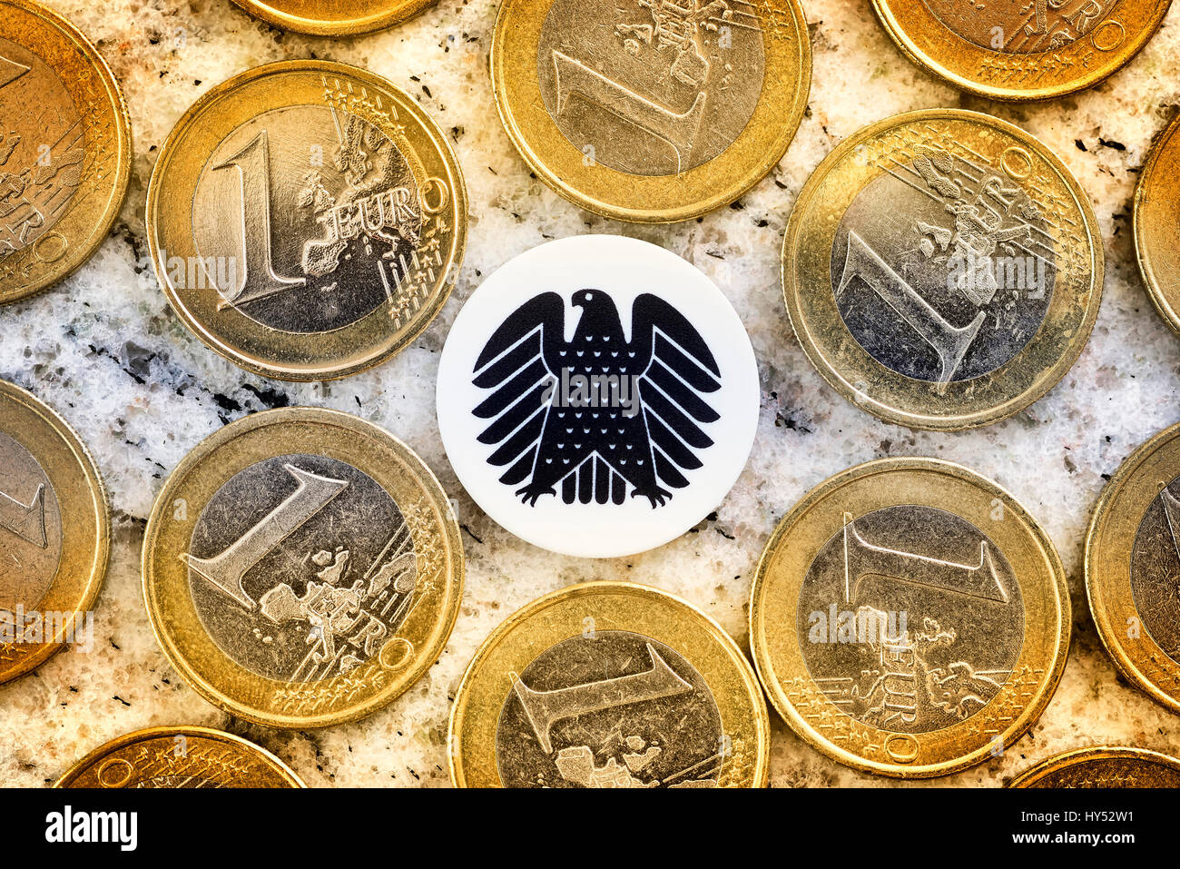 Monetary coins and federal eagles, parliamentary pay rise, Geldmuenzen und Bundesadler, Diaetenerhoehung - Stock Image
