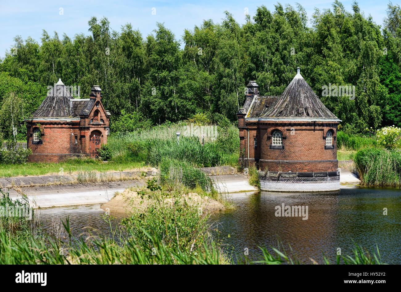 Historical racketeer's small houses in cold court, Rothenburgsort, Hamburg, Germany, Europe, Historische Schieberhaeuschen Stock Photo