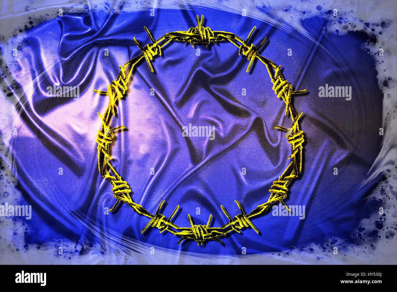 EU flag with barbed wire, symbolic photo refugee's crisis, EU-Fahne mit Stacheldraht, Symbolfoto Fluechtlingskrise - Stock Image