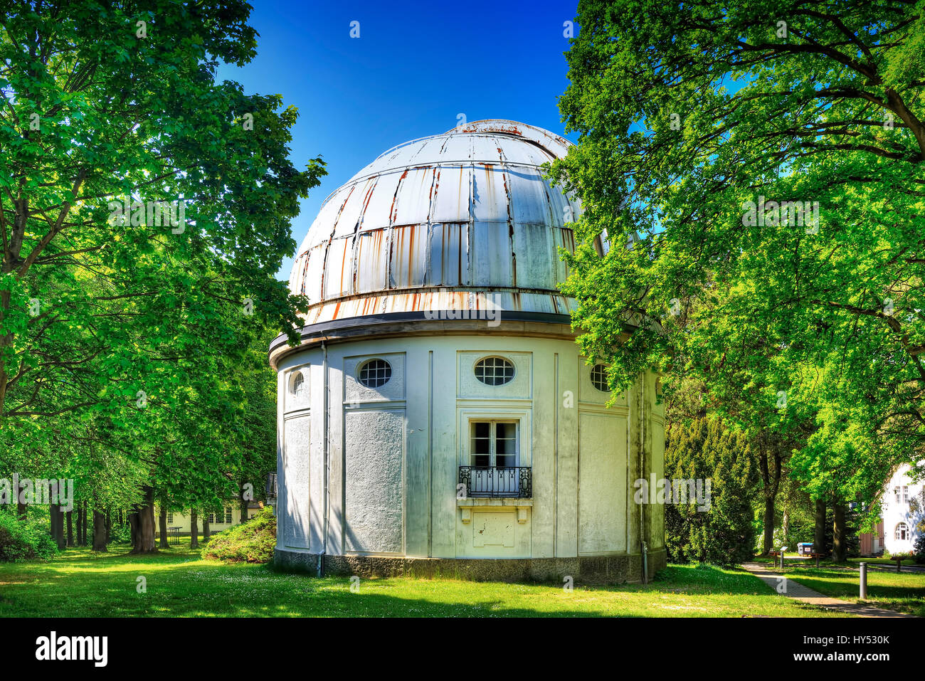 Observatory of Hamburg, big refractor in mountain village, Hamburg, Germany, Europe, Sternwarte Hamburg, Gro?er Stock Photo