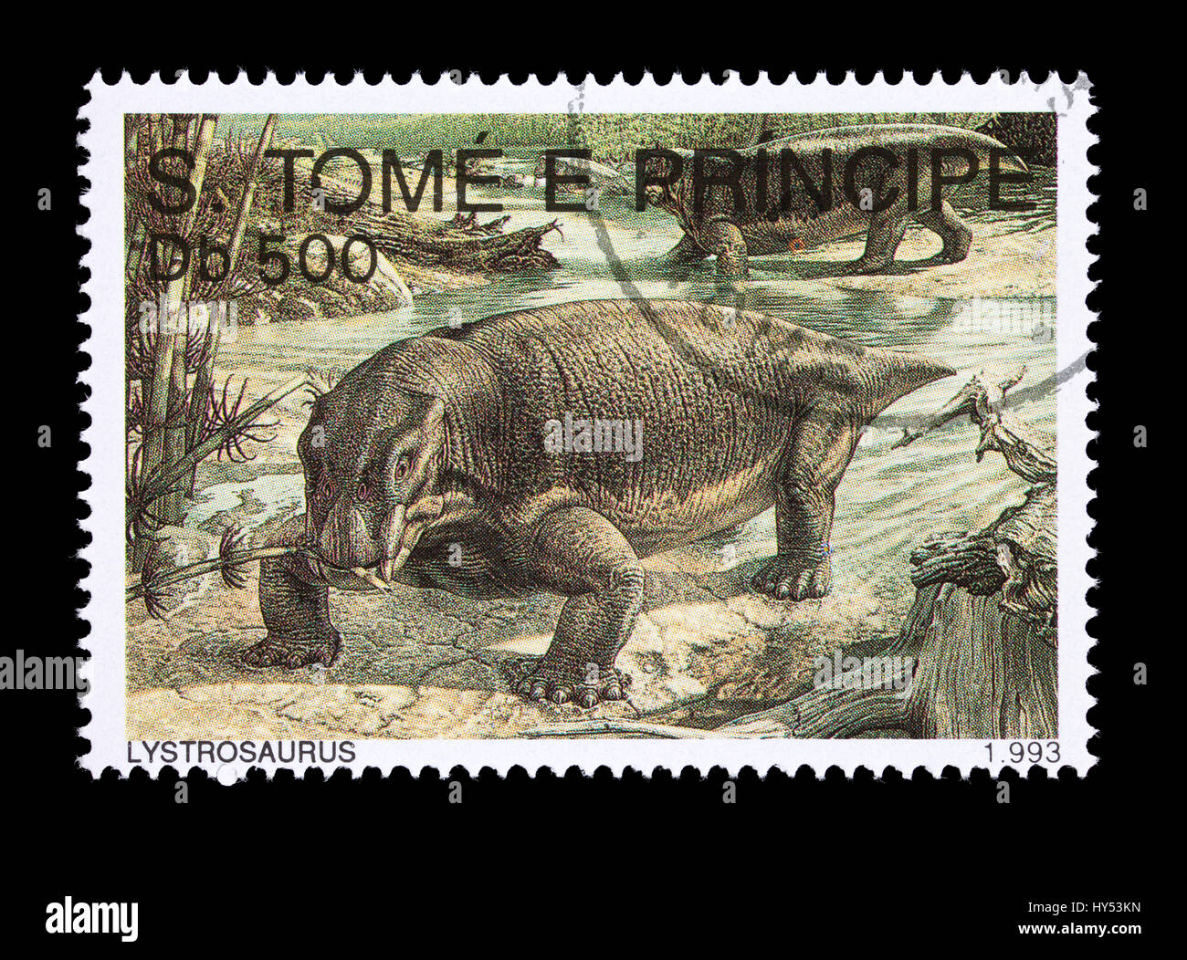 Postage stamp from Saint Thomas and Prince Islands depicting a lystrosaurus - Stock Image