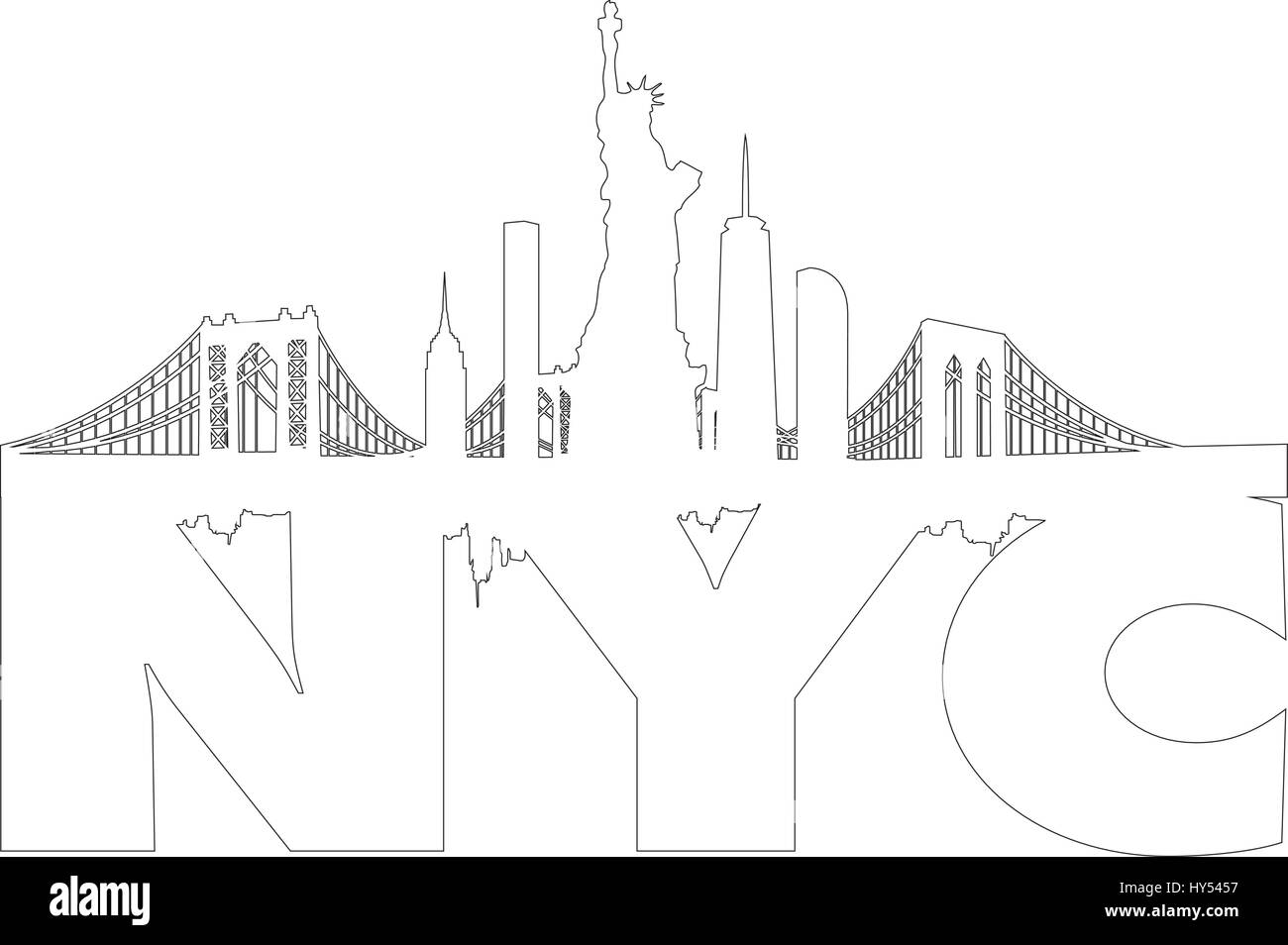 New York City Skyline with Statue of Liberty Vectors series - Stock Vector