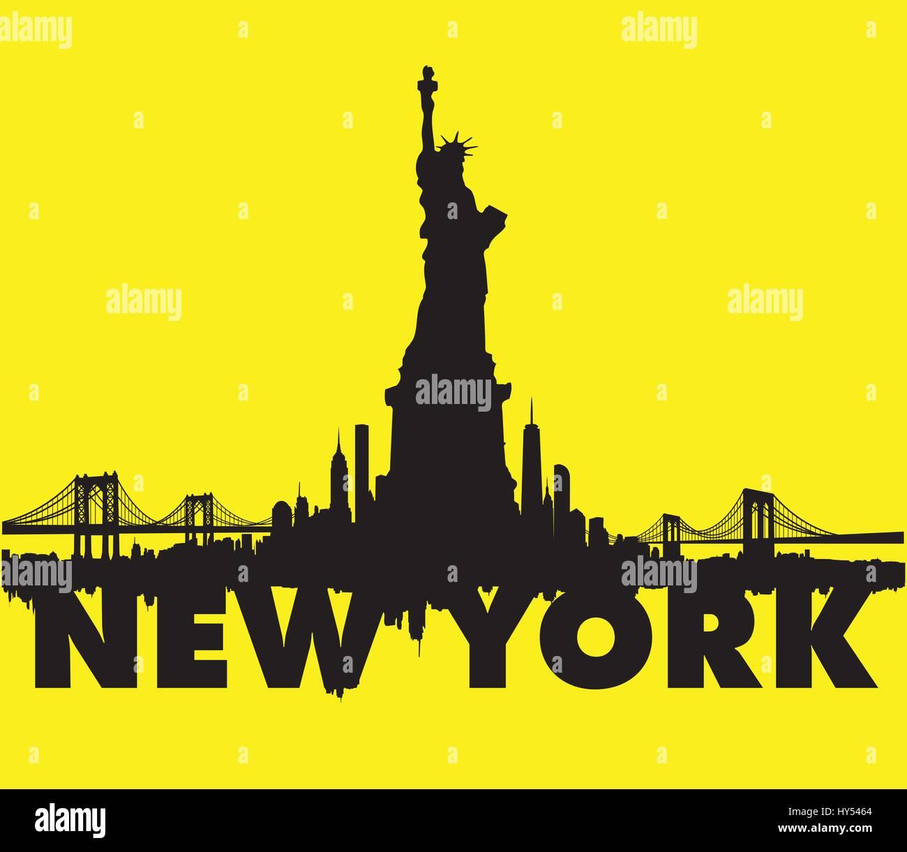 New York City Skyline with Statue of Liberty Vectors series - Stock Vector