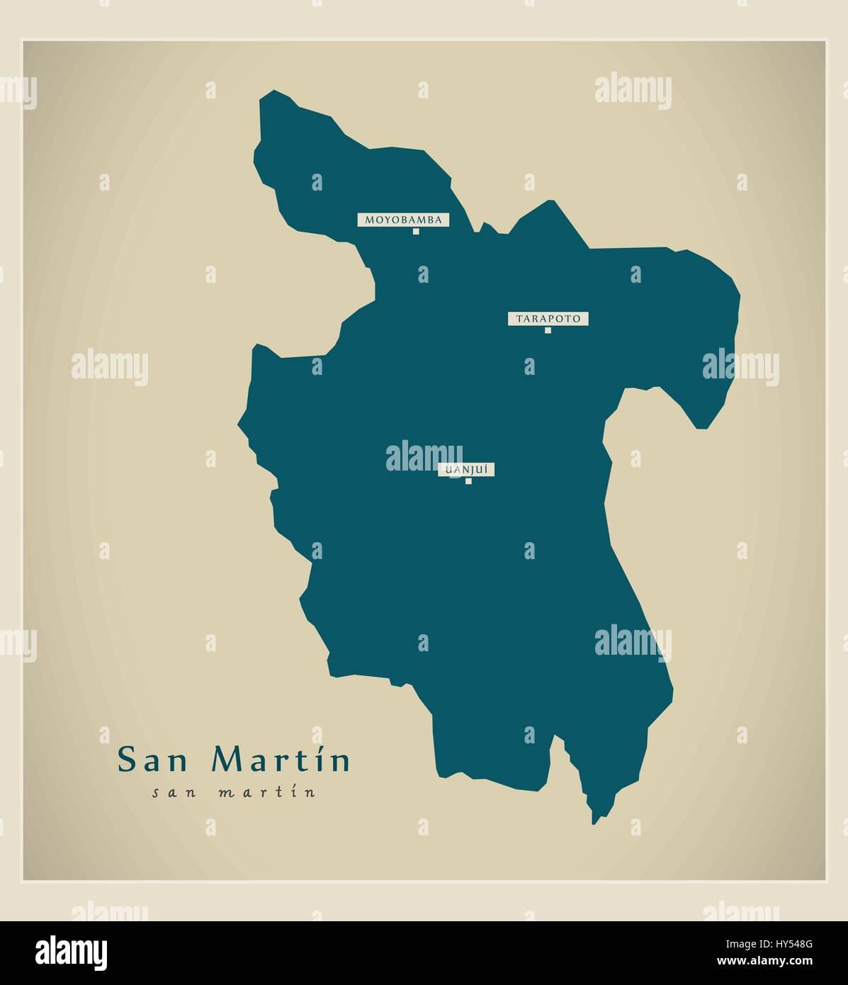 Modern Map - San Martin PE - Stock Vector