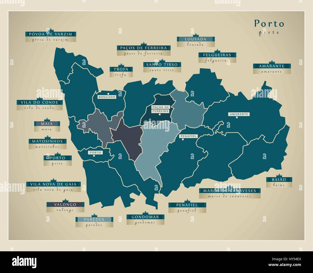 Modern Map - Porto PT - Stock Vector