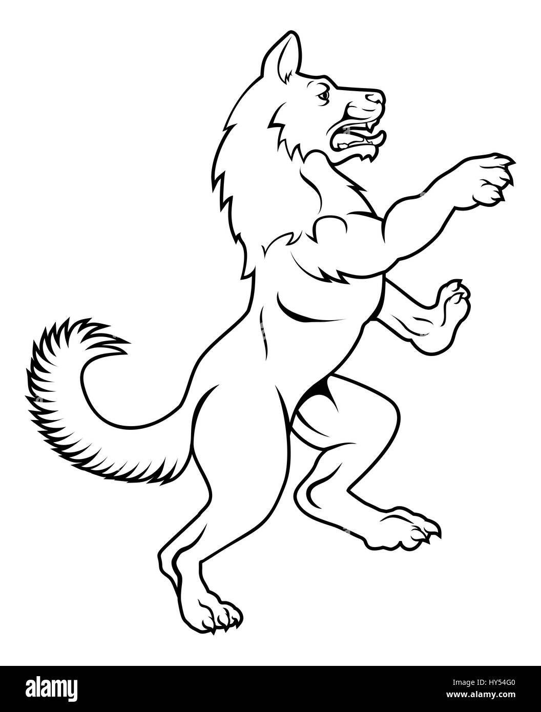 A Pet Dog Or Wolf Animal Standing On Hind Legs In A Heraldic Rampant