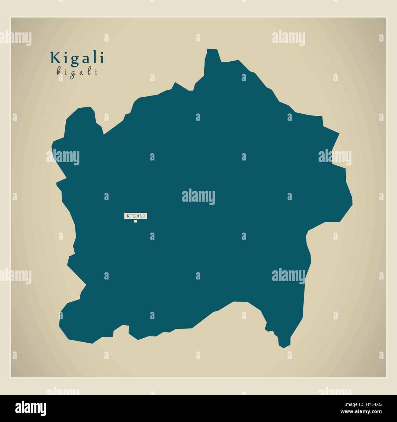 Modern Map - Kigali RW - Stock Vector