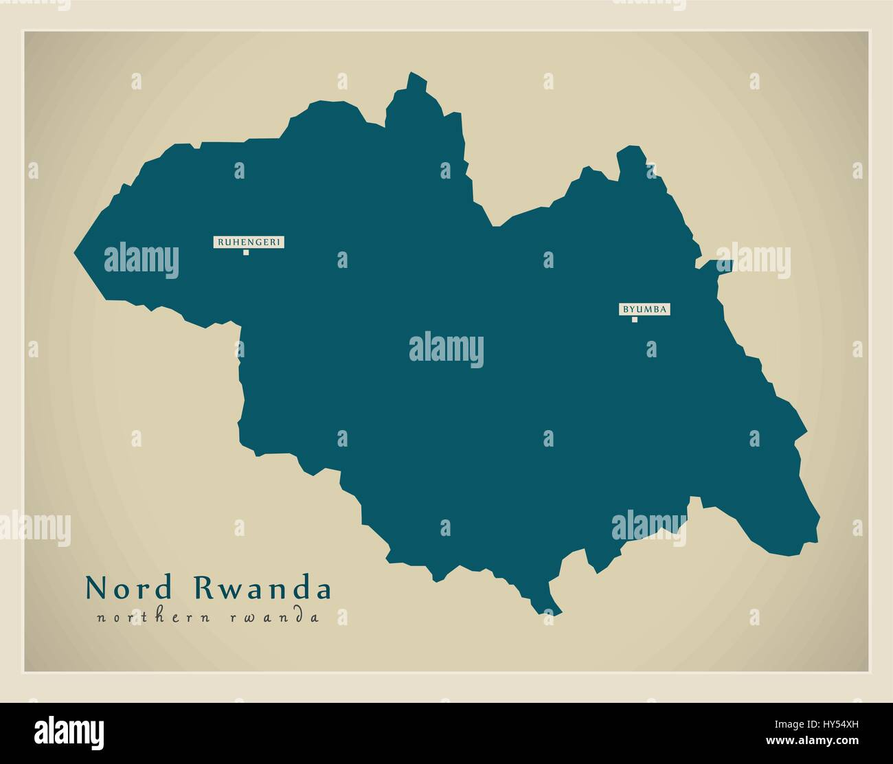Modern Map - Nord Rwanda RW - Stock Vector