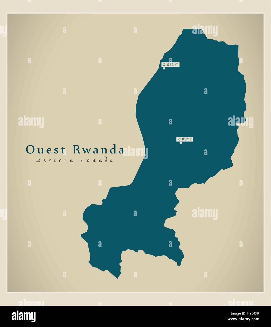 Modern Map - Ouest Rwanda RW - Stock Vector