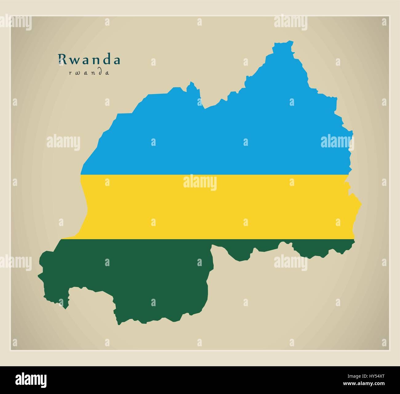 Modern Map - Rwanda flag colored RW - Stock Vector
