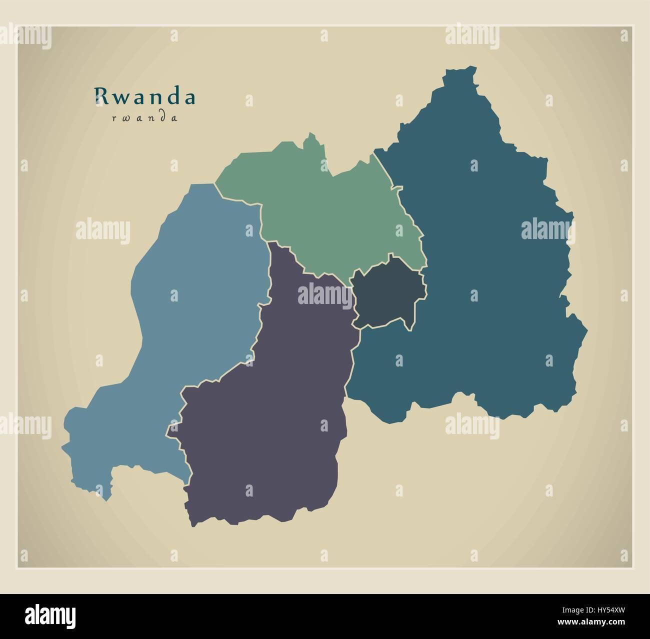 Modern Map - Rwanda with provinces colored RW - Stock Vector