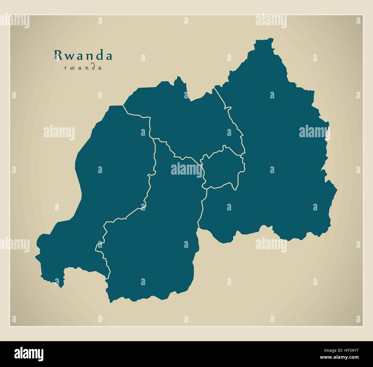 Modern Map - Rwanda with provinces RW - Stock Vector