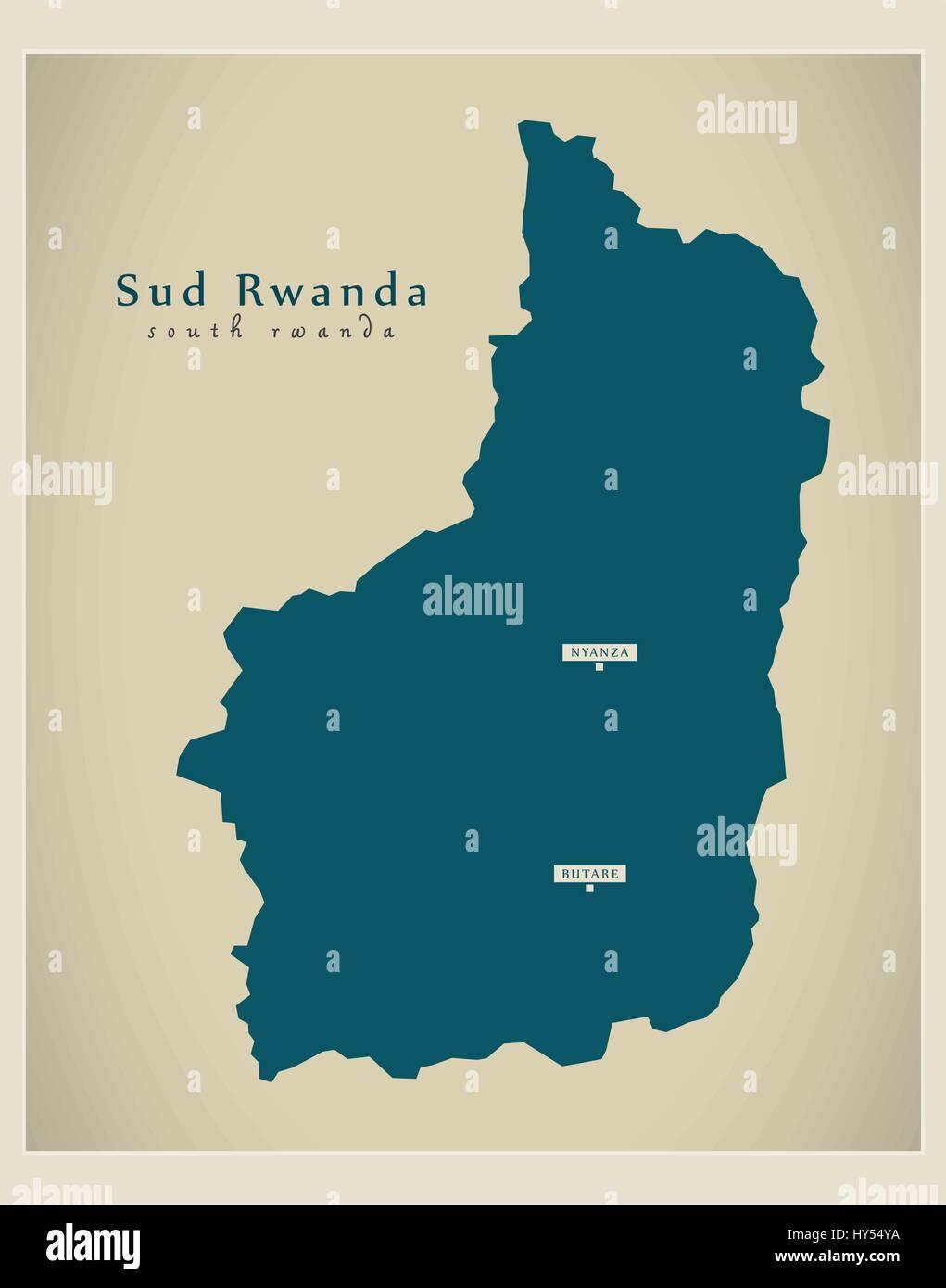 Modern Map - Sud Rwanda RW - Stock Vector