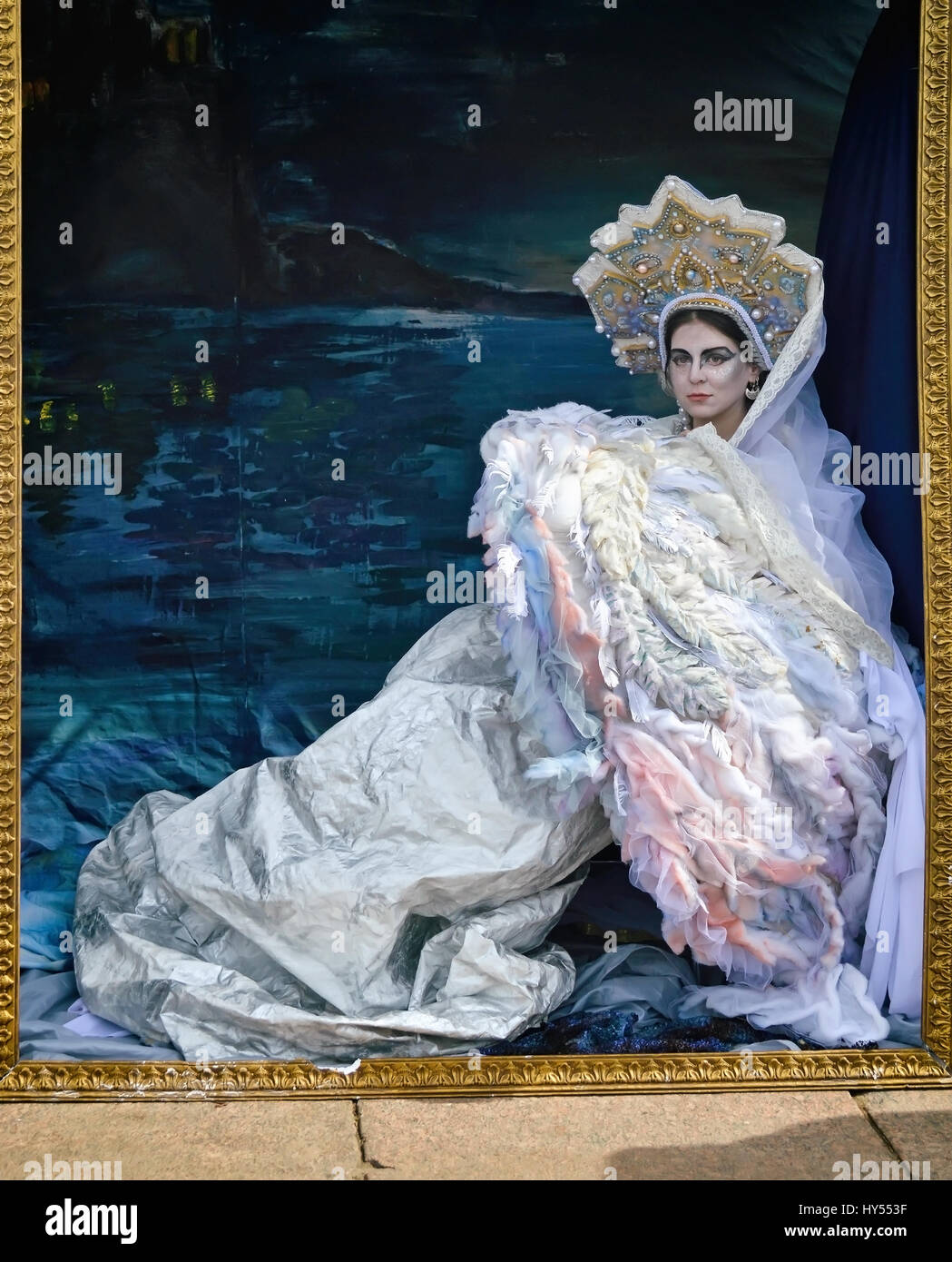Actress in the image of the Princess - Swan depicted in the picture based on the artistic work of Vrubel on a holiday - Stock Image