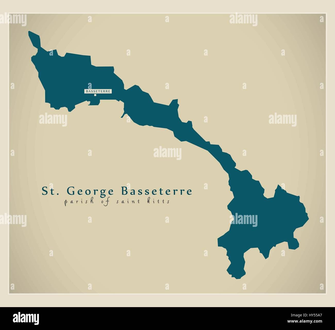 Modern Map - St. George Basseterre KN - Stock Vector