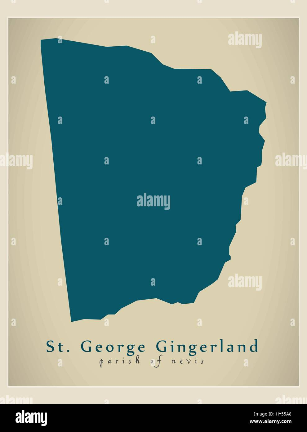 Modern Map - St. George Gingerland KN - Stock Vector