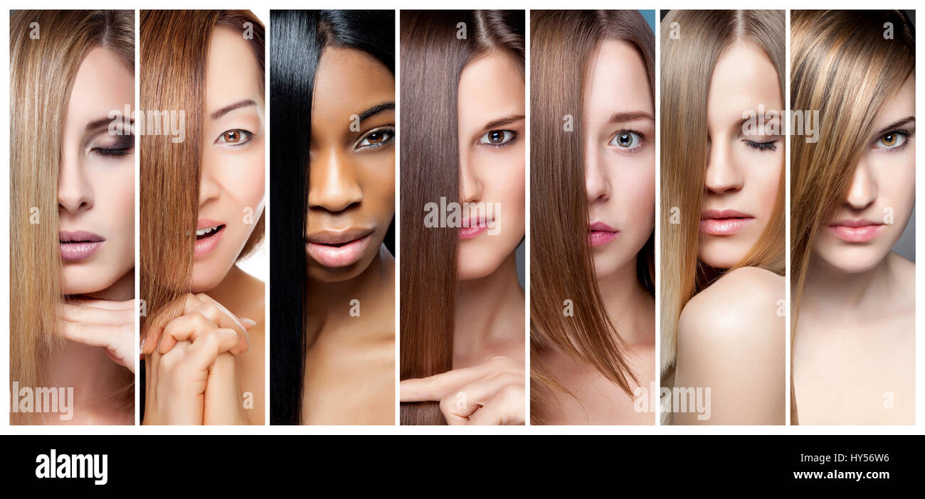 Portrait Collage Of Women With Various Hair Color Skin Tone And