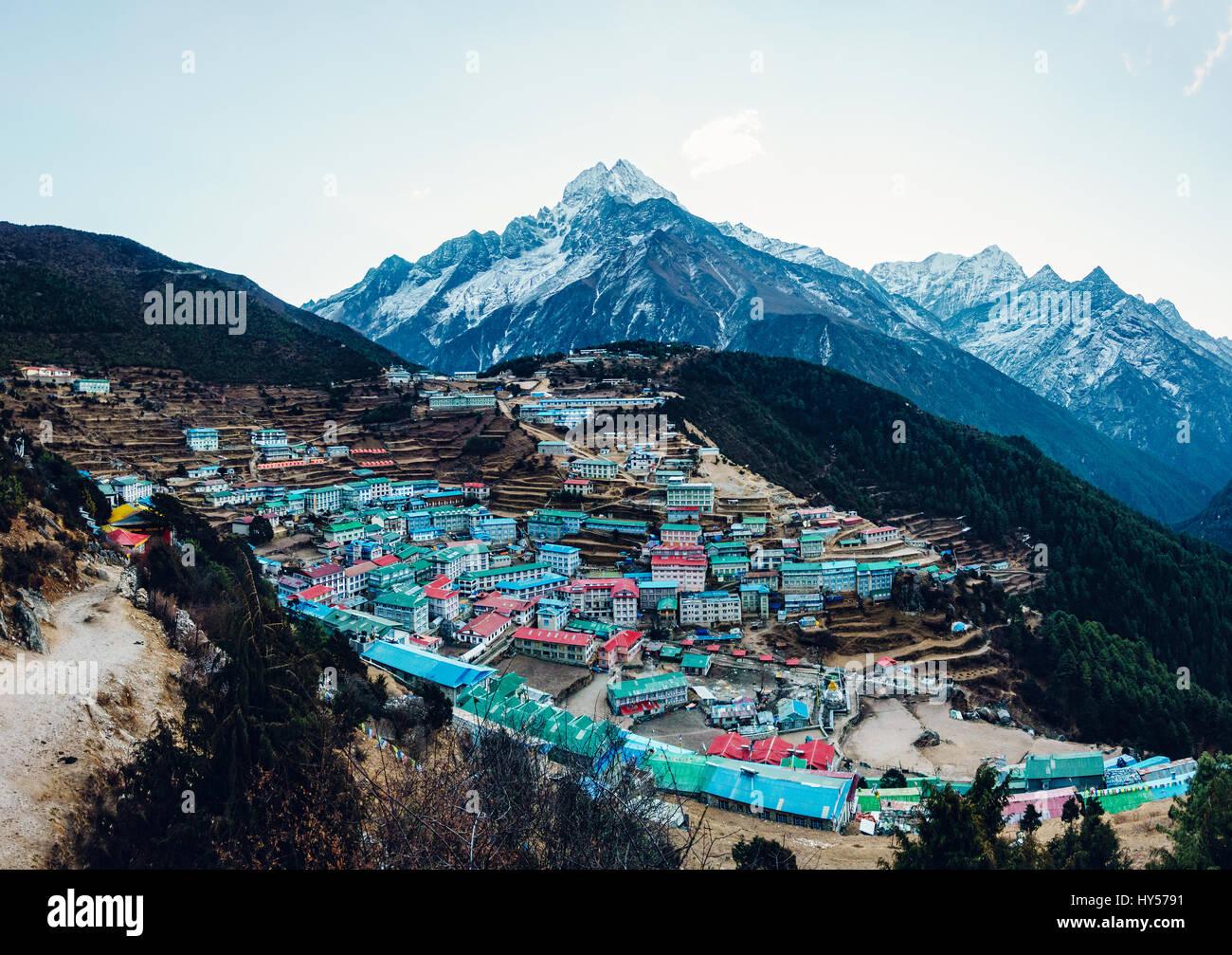 Namche Bazaar and Thamserku mountain in Solukhumbu district, Nepal - Stock Image