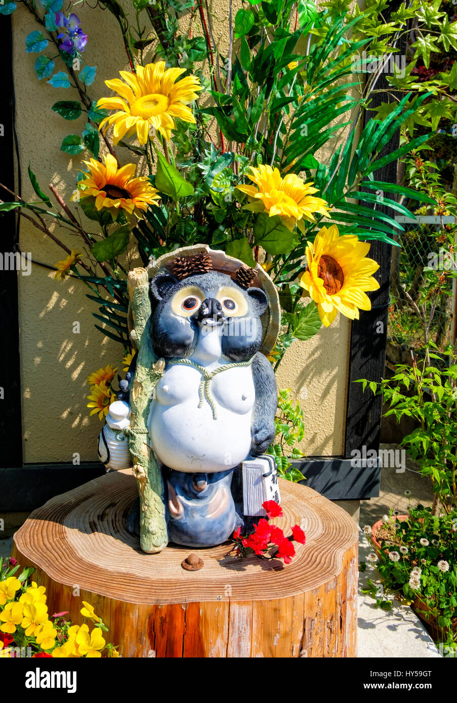 Tanuki Statues Are Common Garden Ornaments In Japan. Tanuki, Or Japanese  Racoon Dogs (unrelated To Racoons Or Dogs) Are Common In Japanese Folklore.