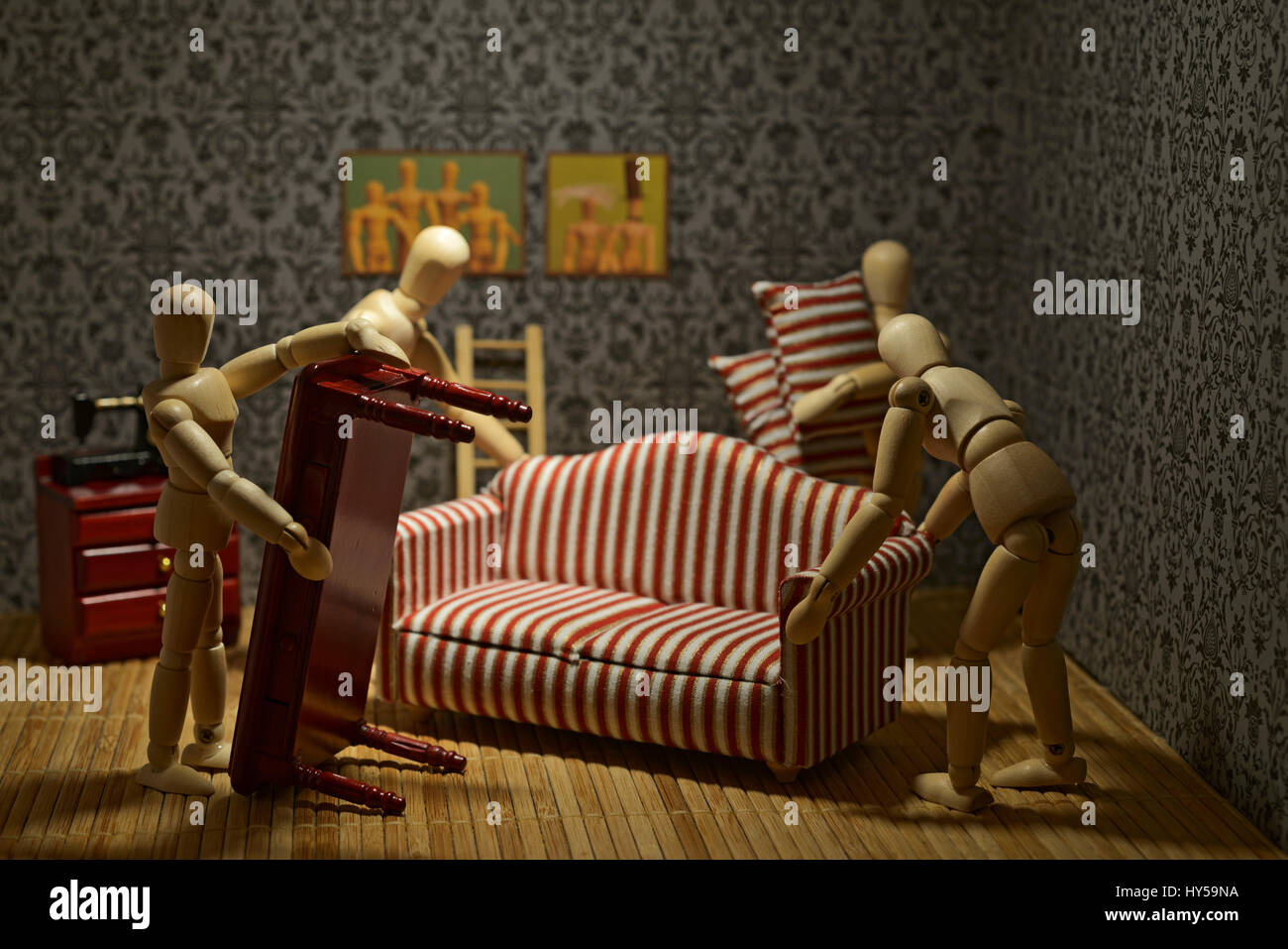The life of the wooden figures - New furniture for the living room. - Stock Image